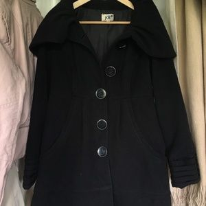 Fit & flare peacoat with oversized hood
